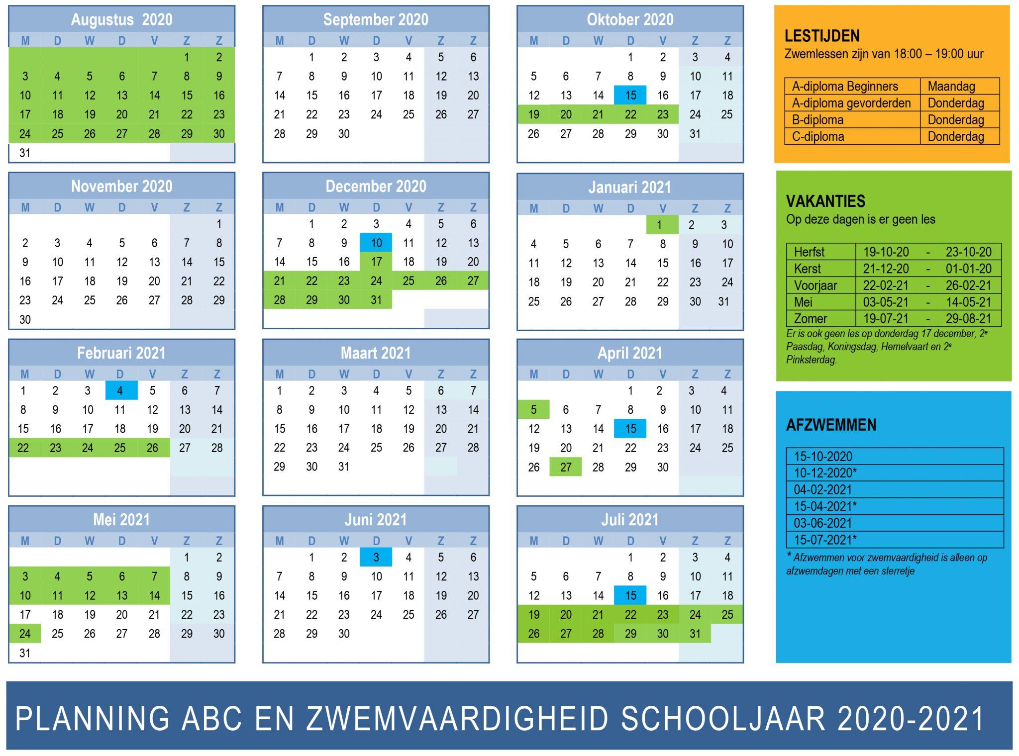 Planning ABC zwemmen en zwemvaardigheid 2020-2021 Zwemclub Zeist
