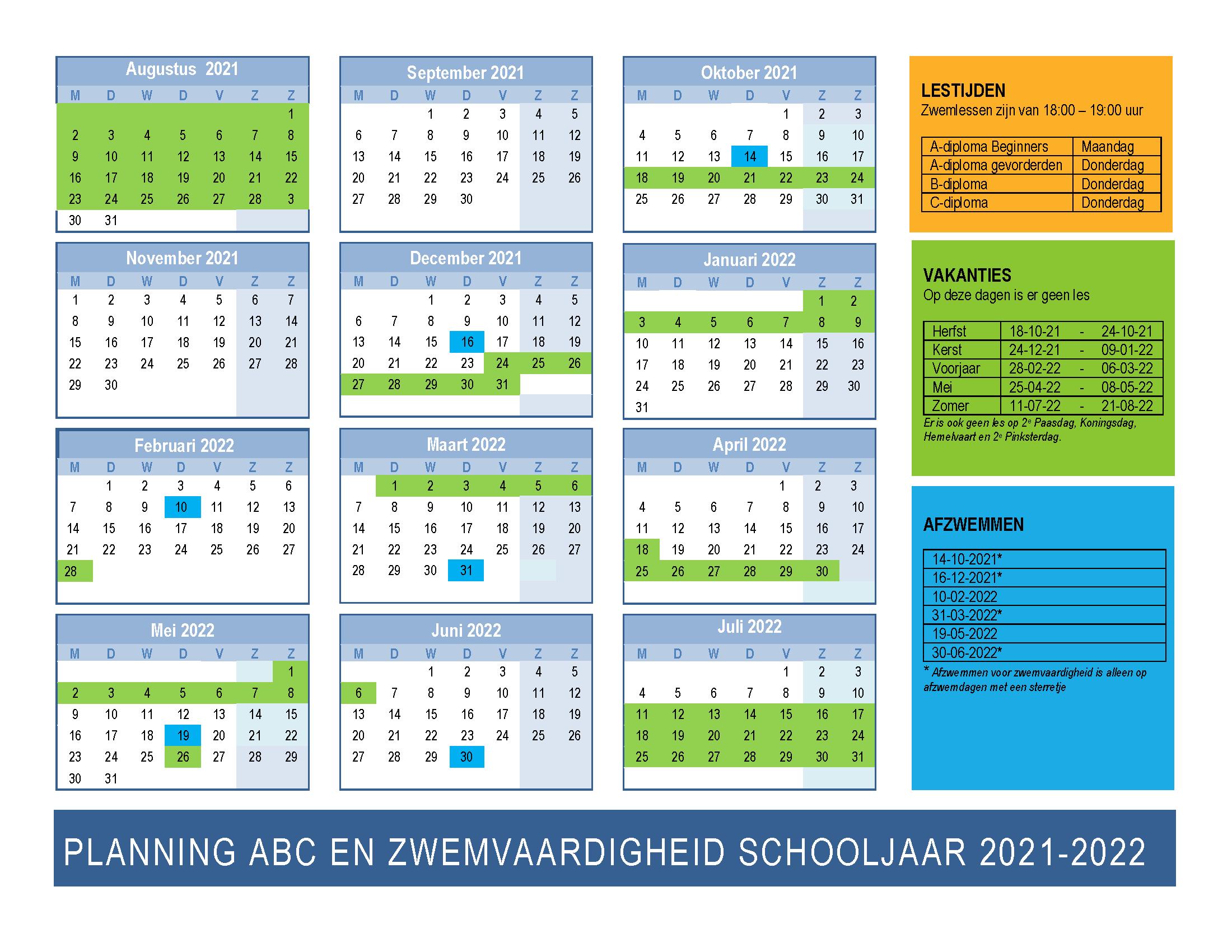 Planning ABC zwemmen en zwemvaardigheid 2021-2022 Zwemclub Zeist