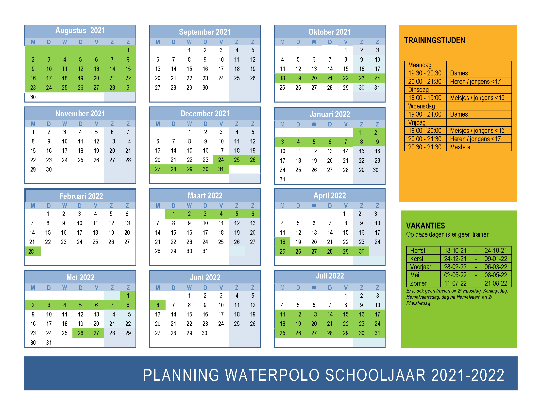 Planning waterpolo 2021-2022 Zwemclub Zeist